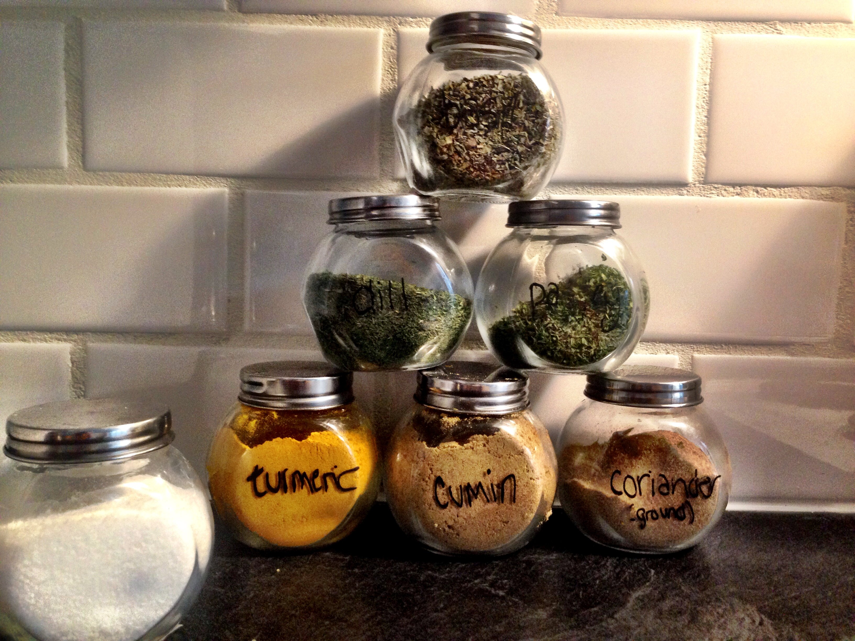 My current system - glass jars, labelled with chalkboard marker.