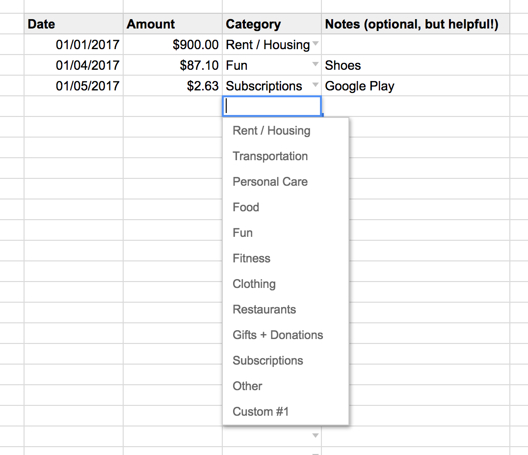 Here's where you'll find the categories in the track your spending spreadsheet.