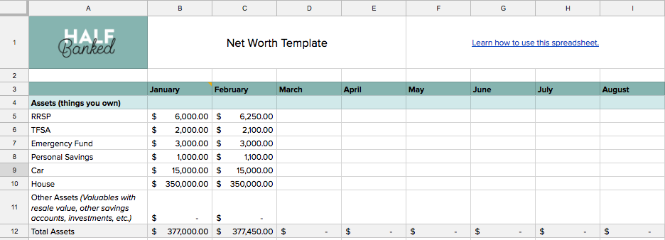 a free net worth tracking spreadsheet